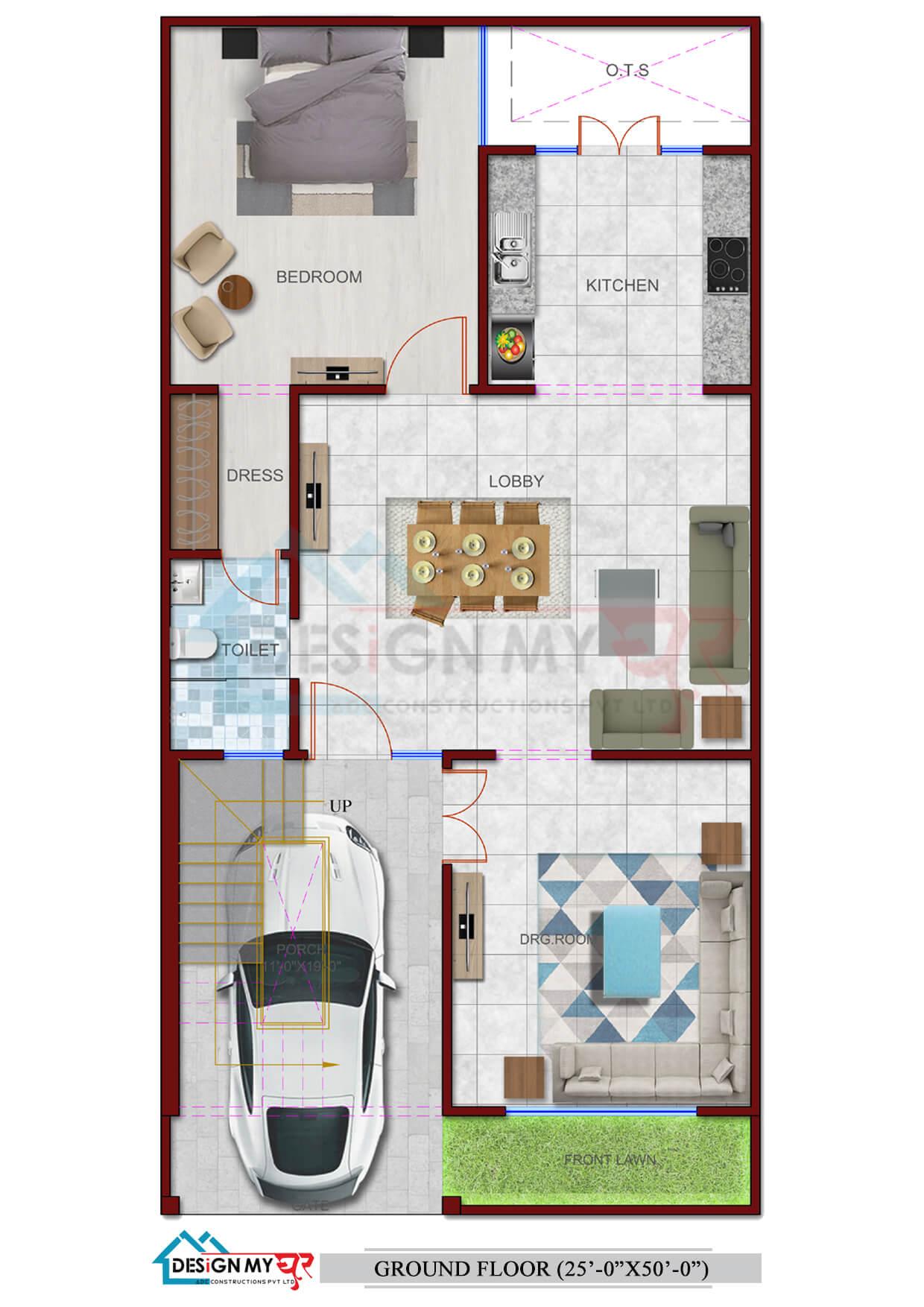 25x50 House Plan West Facing