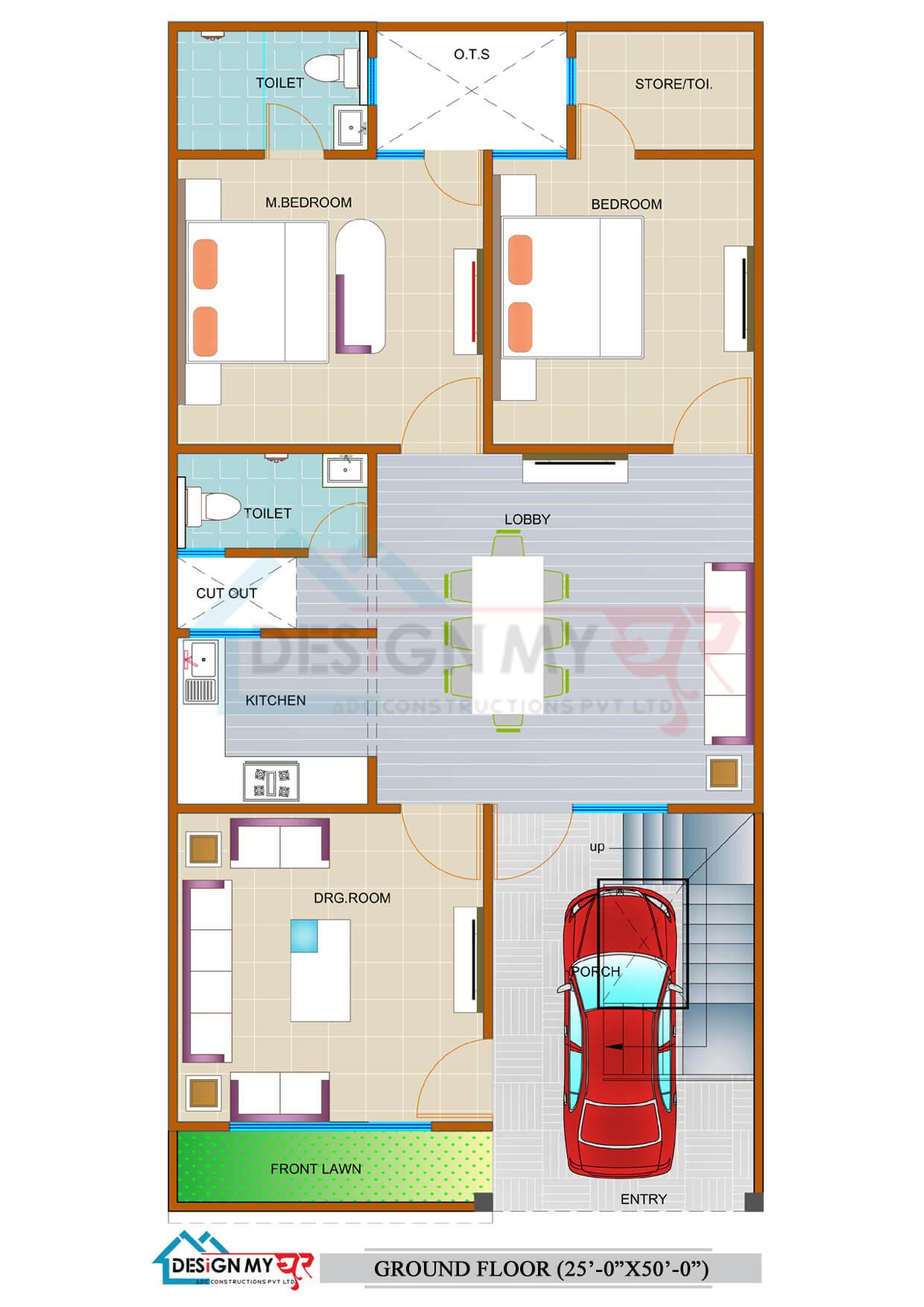 25x50 House Plan East Facing
